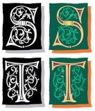 Brief S en T, Grijs en Kleur Stock Afbeelding