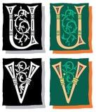 Brief U en V, Grijs en Kleur Royalty-vrije Stock Fotografie