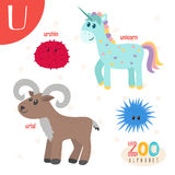 Brief U Leuke dieren Grappige beeldverhaaldieren in vector ABC-boe-geroep Stock Fotografie