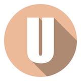 Brief U met een lange schaduw Vector illustratie EPS10 vector illustratie