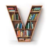 Brief V geïsoleerd alfabet in de vorm van planken met boeken Stock Foto