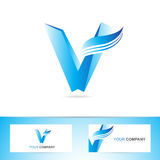 Brief V het symbool van het embleempictogram Stock Foto