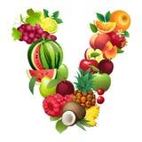 Brief V uit verschillende vruchten met bladeren wordt samengesteld dat Royalty-vrije Stock Afbeeldingen