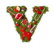 Brief V van het Alfabet van Kerstmis royalty-vrije stock fotografie
