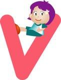 Brief V van het alfabet (meisje) Stock Foto's