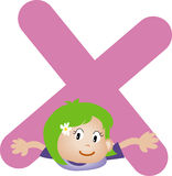 Brief X van het alfabet (meisje) Stock Fotografie
