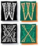 Brief W en X, Grijs en Kleur Royalty-vrije Stock Foto's