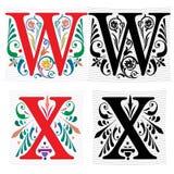 Brief W en X, Kleur en Zwart-wit Royalty-vrije Stock Afbeelding
