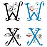 Brief W en X, Kleur en Zwart-wit Royalty-vrije Stock Foto