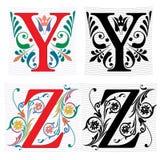Brief Y en Z, Kleur en Zwart-wit Royalty-vrije Stock Foto's