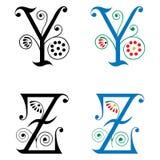 Brief Y en Z, Kleur en Zwart-wit Royalty-vrije Stock Foto