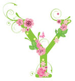 Brief Y met rozen Stock Fotografie