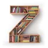 Brief Z geïsoleerd alfabet in de vorm van planken met boeken Stock Afbeelding