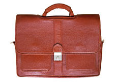 Briefcase. Red-brown leather briefcase (Clipping path) isolated on white background stock photo