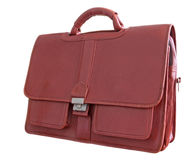 Briefcase. Brown leather briefcase (Clipping path) isolated on white background royalty free stock photos