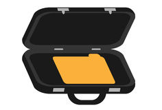 Briefcase. A briefcase with a single file within Stock Photo