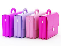 Briefcase. Four colored business bags on a white background - 3D render Stock Photo