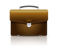 Briefcase. Brown leather briefcase with a lock Stock Photo