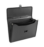 Briefcase. Black business briefcase over white stock photography