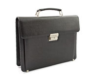 Briefcase. Business leather briefcase on the white background. Side view stock photography