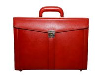Briefcase. Red briefcase image on the white background stock images