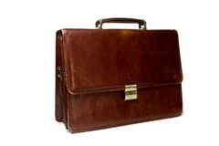 Briefcase. Brown driefcase isolated on the white background Royalty Free Stock Image