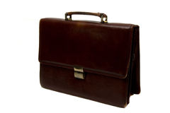 Briefcase. Brown briefcase isolated on the white background Stock Photo