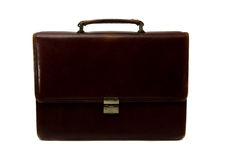 Briefcase. Brown briefcase isolated on the white background Stock Image
