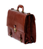 Briefcase. Brown leather briefcase of a businessman royalty free stock images