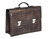 Briefcase. Expensive briefcase from crocodile skin on white background royalty free stock photos