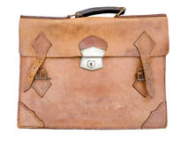 Briefcase. Old leather briefcase isolated on white stock images