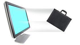Briefcase. Leaving out of computer monitor stock images