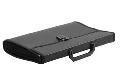 Briefcase. Plastic closed black briefcase isolated over white Royalty Free Stock Photos