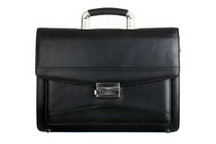 Briefcase. Image of big black leather briefcase isolated on white background stock photography