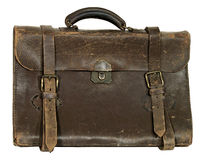 Briefcase. Antique briefcase with handle, buckle straps, and locking latch Stock Photography
