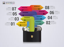 Briefcase with arrows. Infographic design template. Vector illustration Royalty Free Stock Photo