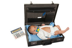 Briefcase baby Stock Image