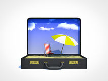 Briefcase beach vacation. Opened work briefcase beach vacation Stock Photo
