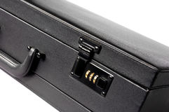 Briefcase. Black attache case isolated on a white royalty free stock photo