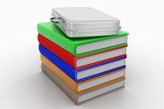 Briefcase and books Stock Images