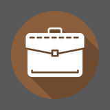 Briefcase, business portfolio flat icon. Round colorful button, circular vector sign with long shadow effect. Royalty Free Stock Photos