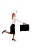 briefcase businesswoman running smiling Στοκ φωτογραφίες με δικαίωμα ελεύθερης χρήσης