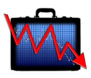 Briefcase Chart Losing Profits Stock Photography