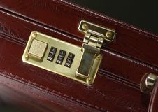 Briefcase with closed lock Royalty Free Stock Photos