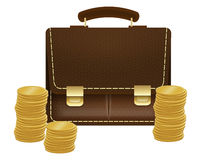 Briefcase with coins Stock Photos