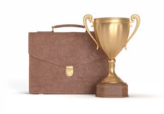 Briefcase and cup winner Royalty Free Stock Image