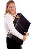 briefcase employee holding side smiling view Στοκ Φωτογραφίες