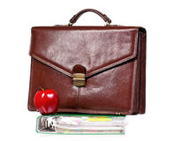 Briefcase with file folder Stock Photo