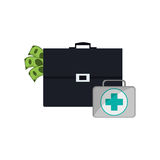 Briefcase and first aid kit  icon. Flat design briefcase and first aid kit  icon vector illustration Stock Image