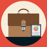 Briefcase flat vector illustration Royalty Free Stock Photos